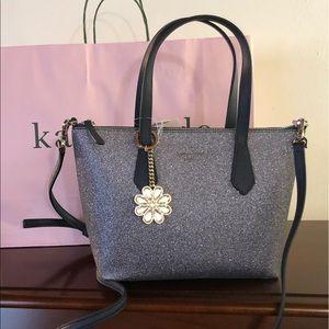 NWT Kate Spade glitter blue handbag & key chain
